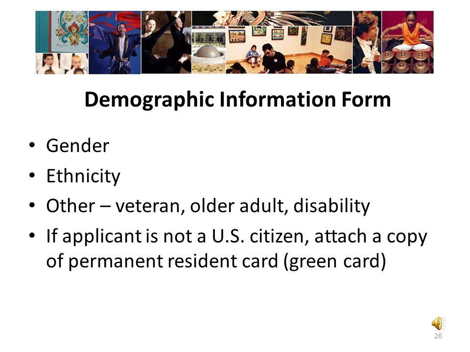Project information form Artistic discipline(s) Project characteristics Project descriptors Educational activities 25