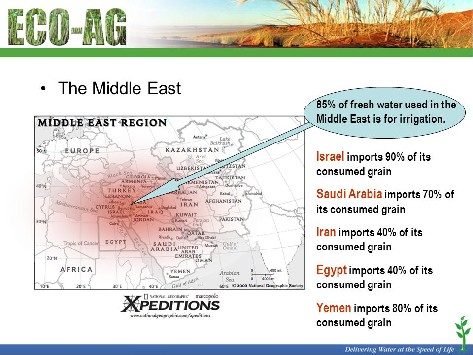 The Middle East 85% of fresh water used in the Middle East is for irrigation.