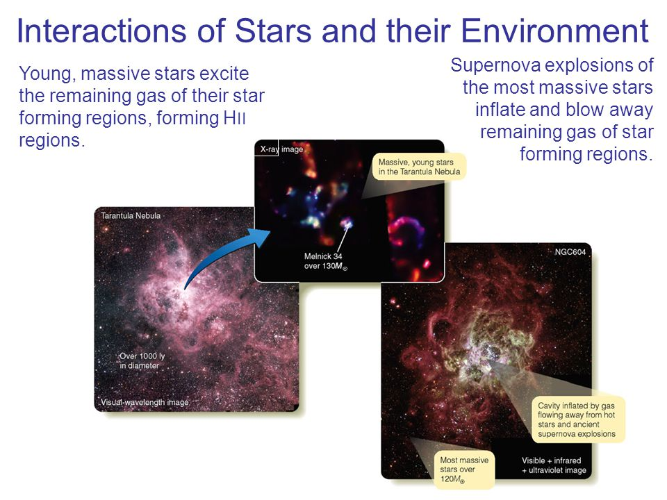 Interactions of Stars and their Environment Supernova explosions of the most massive stars inflate and blow away remaining gas of star forming regions
