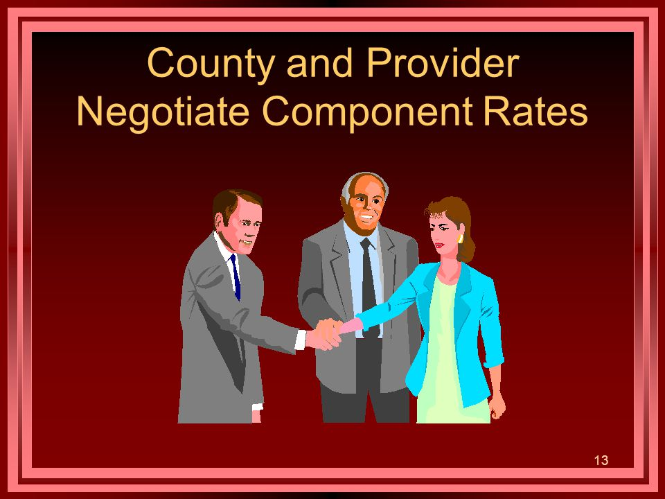 13 County and Provider Negotiate Component Rates