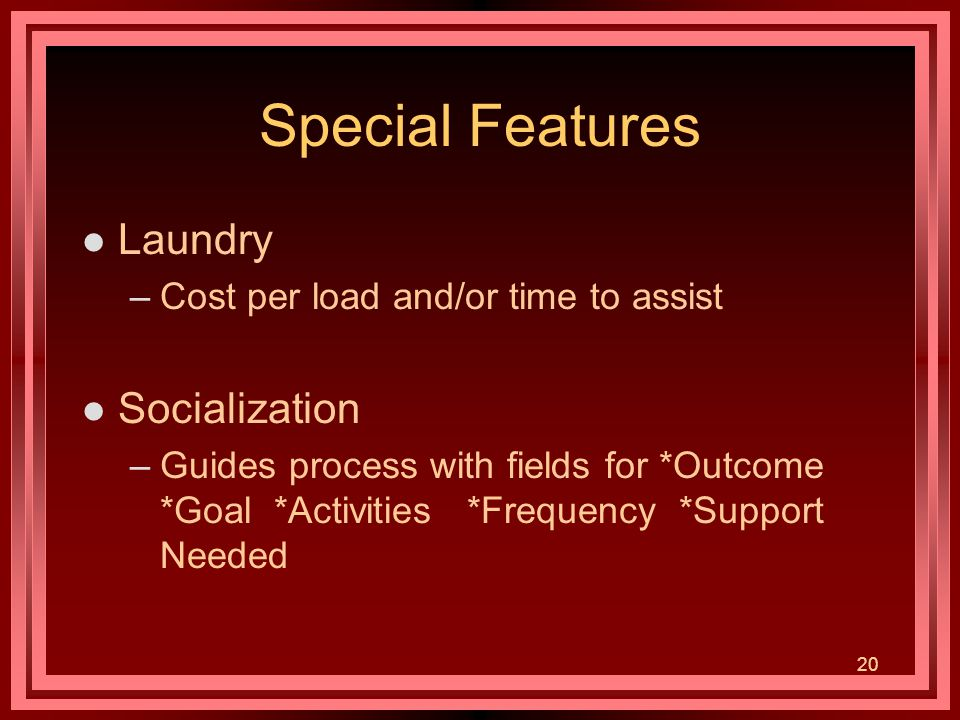 20 Special Features l Laundry –Cost per load and/or time to assist l Socialization –Guides process with fields for *Outcome *Goal *Activities *Frequency *Support Needed