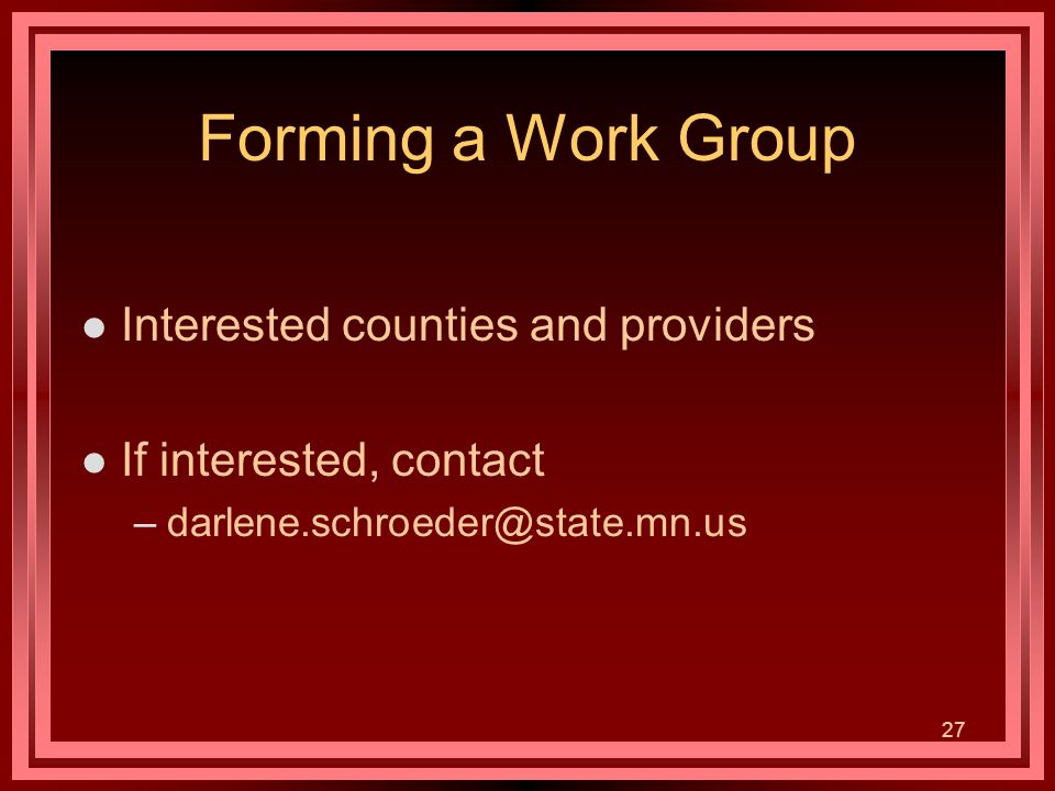 27 Forming a Work Group l Interested counties and providers l If interested, contact –darlene.schroeder@state.mn.us