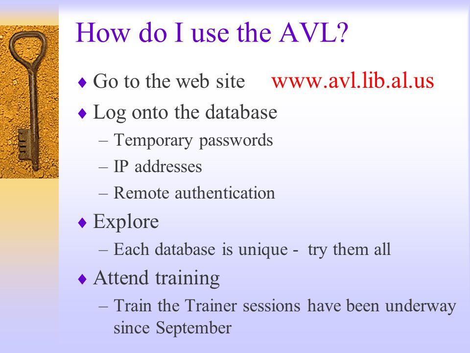 Where is the AVL http://www.avl.lib.al.us Alabama Supercomputer Authority At a library near you !