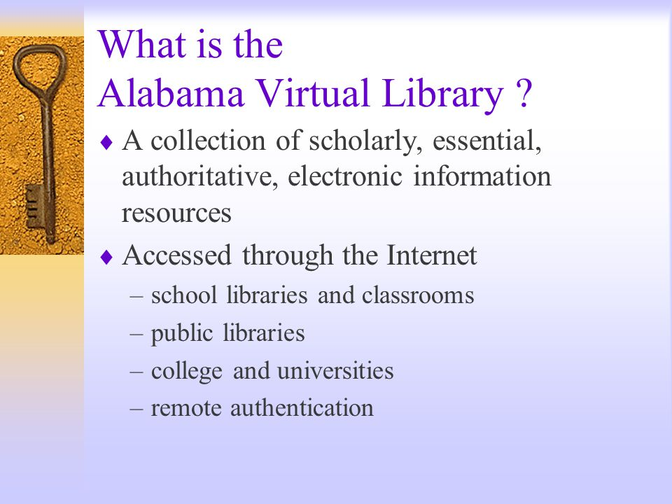 Alabama Virtual Library Dr. Lamar Veatch Alabama Public Library Service