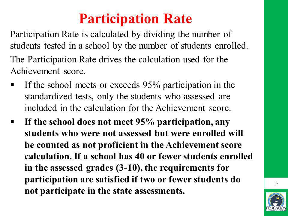 Participation Rate Participation Rate is calculated by dividing the number of students tested in a school by the number of students enrolled.