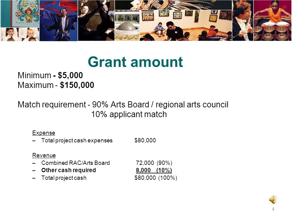 Grant amount Minimum - $5,000 Maximum - $150,000 Match requirement - 90% Arts Board / regional arts council 10% applicant match Expense –Total project cash expenses$80,000 Revenue –Combined RAC/Arts Board 72,000 (90%) –Other cash required 8,000 (10%) –Total project cash$80,000 (100%) 4