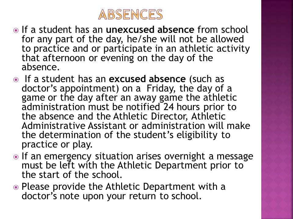  If a student has an unexcused absence from school for any part of the day, he/she will not be allowed to practice and or participate in an athletic