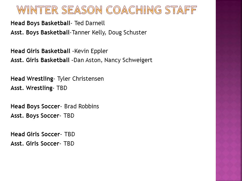 Head Boys Basketball- Ted Darnell Asst.