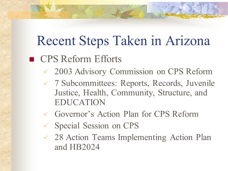 Recent Steps Taken in Arizona CPS Reform Efforts 2003 Advisory Commission on CPS Reform 7 Subcommittees: Reports, Records, Juvenile Justice, Health, C