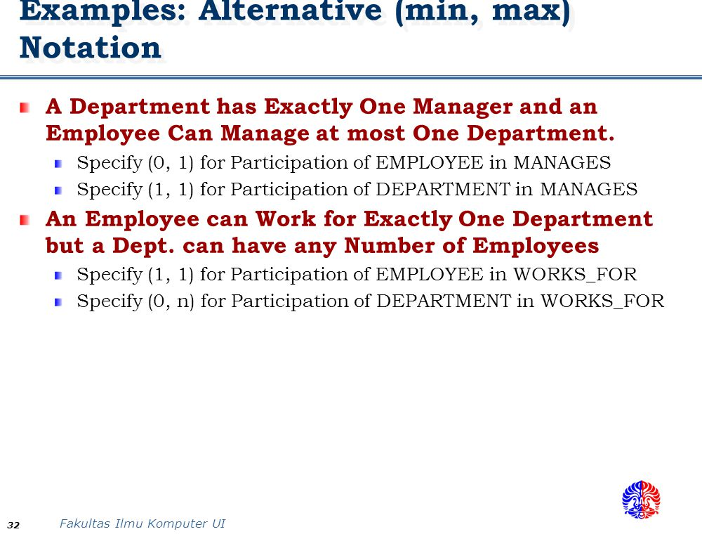 Fakultas Ilmu Komputer UI 32 Examples: Alternative (min, max) Notation A Department has Exactly One Manager and an Employee Can Manage at most One Dep