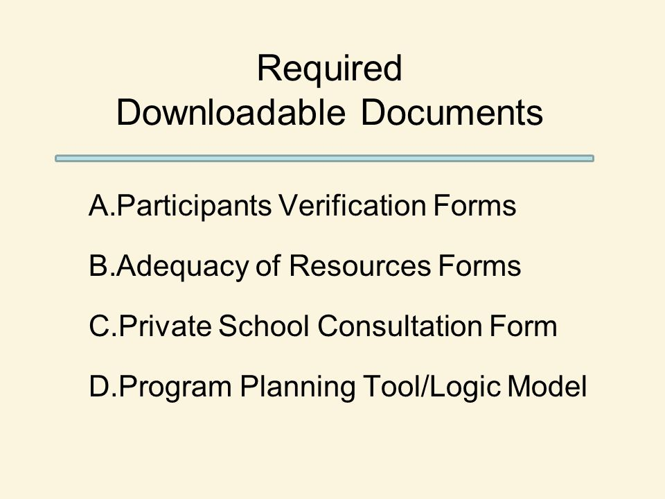 Required Downloadable Documents A.Participants Verification Forms B.Adequacy of Resources Forms C.Private School Consultation Form D.Program Planning