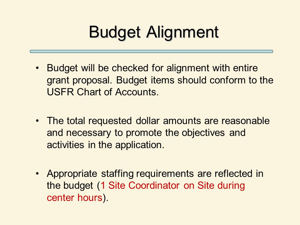 Budget Alignment Budget will be checked for alignment with entire grant proposal.