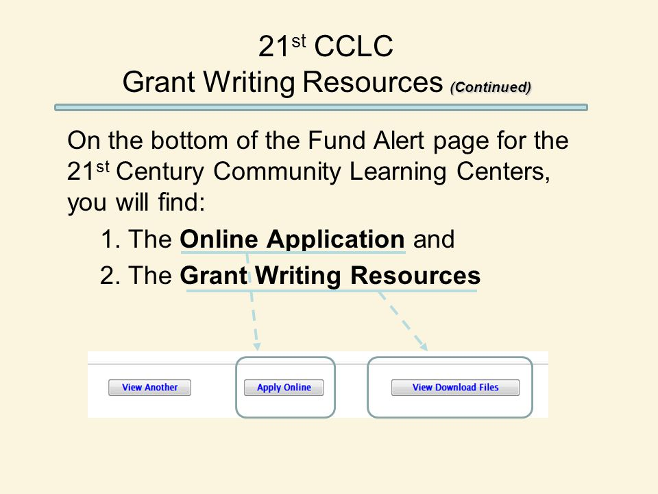 (Continued) 21 st CCLC Grant Writing Resources (Continued) On the bottom of the Fund Alert page for the 21 st Century Community Learning Centers, you will find: 1.