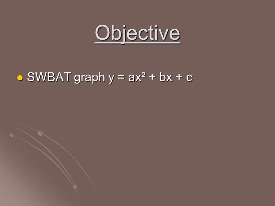 Objective SWBAT graph y = ax² + bx + c SWBAT graph y = ax² + bx + c