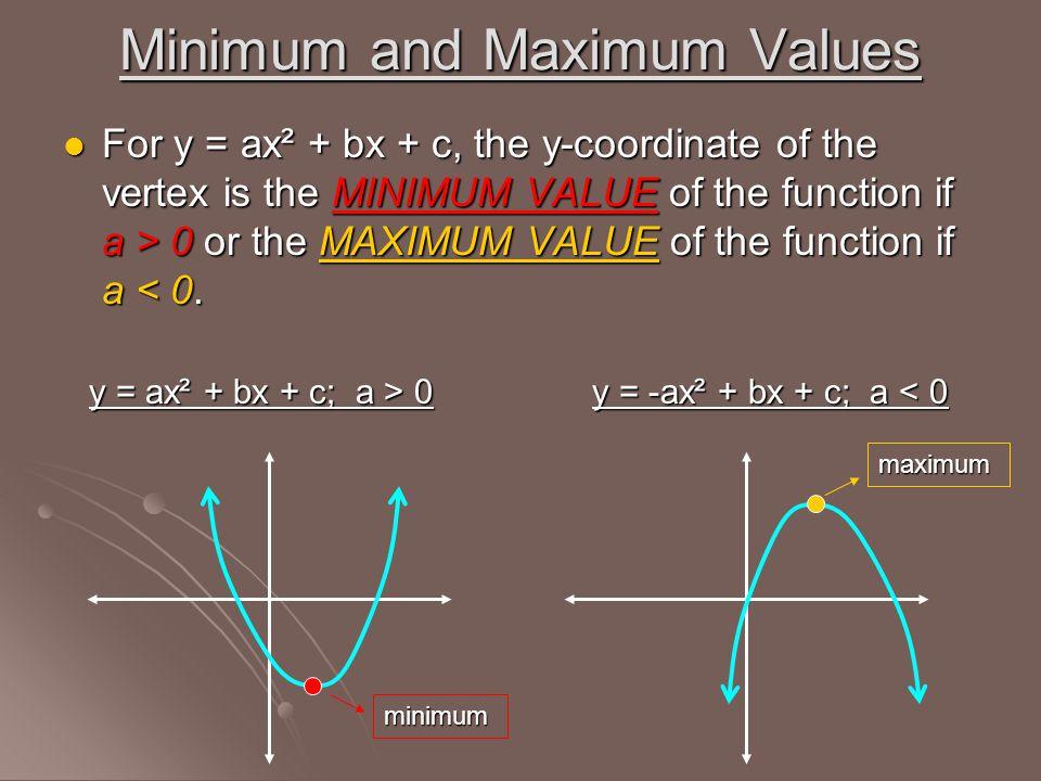 Minimum and Maximum Values For y = ax² + bx + c, the y-coordinate of the vertex is the MINIMUM VALUE of the function if a > 0 or the MAXIMUM VALUE of