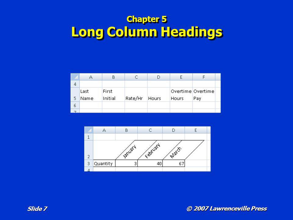 © 2007 Lawrenceville Press Slide 7 Chapter 5 Long Column Headings