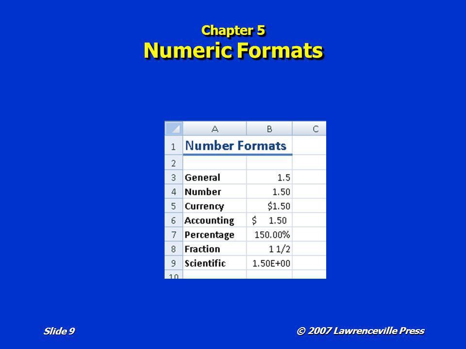 © 2007 Lawrenceville Press Slide 9 Chapter 5 Numeric Formats