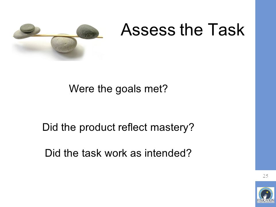 Assess the Task 25 Were the goals met. Did the product reflect mastery.