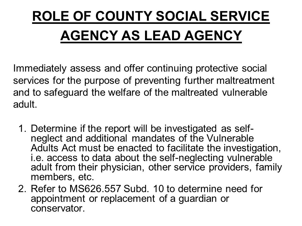 ROLE OF COUNTY SOCIAL SERVICE AGENCY AS LEAD AGENCY 1.Determine if the report will be investigated as self- neglect and additional mandates of the Vulnerable Adults Act must be enacted to facilitate the investigation, i.e.