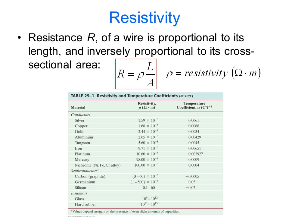 Resistivity Resistivity is a material property The reciprocal of resistivity is conductivity Resistivity is temperature dependent