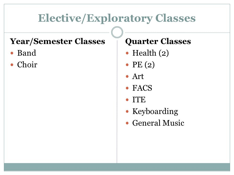 Elective/Exploratory Classes Year/Semester Classes Band Choir Quarter Classes Health (2) PE (2) Art FACS ITE Keyboarding General Music