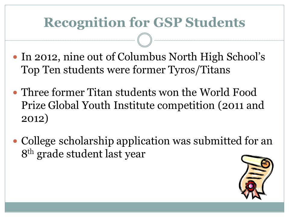 Recognition for GSP Students In 2012, nine out of Columbus North High School's Top Ten students were former Tyros/Titans Three former Titan students won the World Food Prize Global Youth Institute competition (2011 and 2012) College scholarship application was submitted for an 8 th grade student last year
