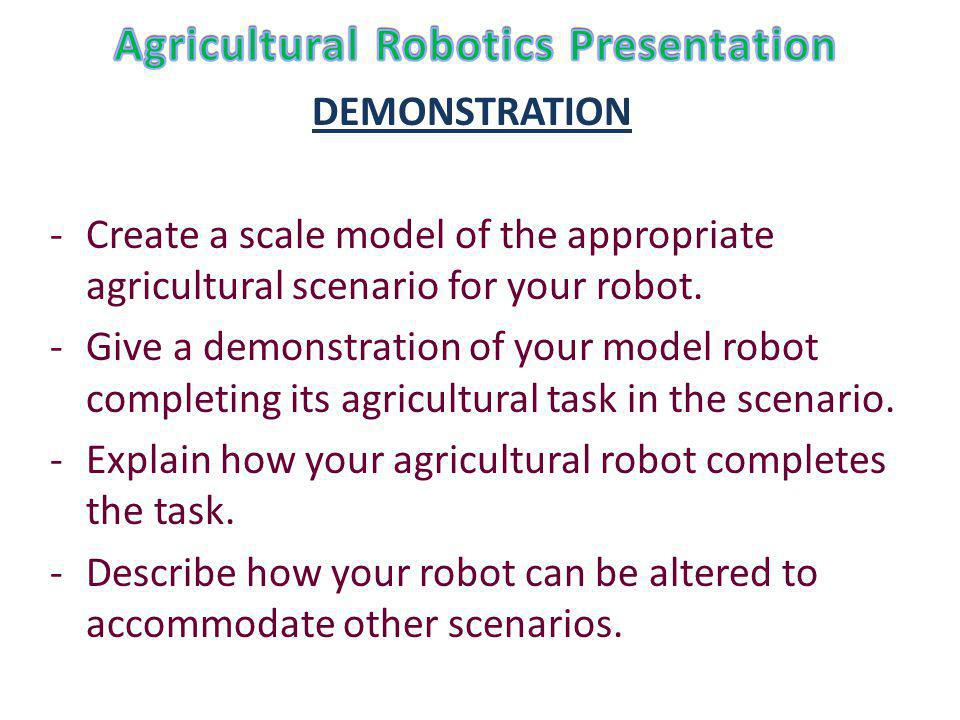 DEMONSTRATION -Create a scale model of the appropriate agricultural scenario for your robot.