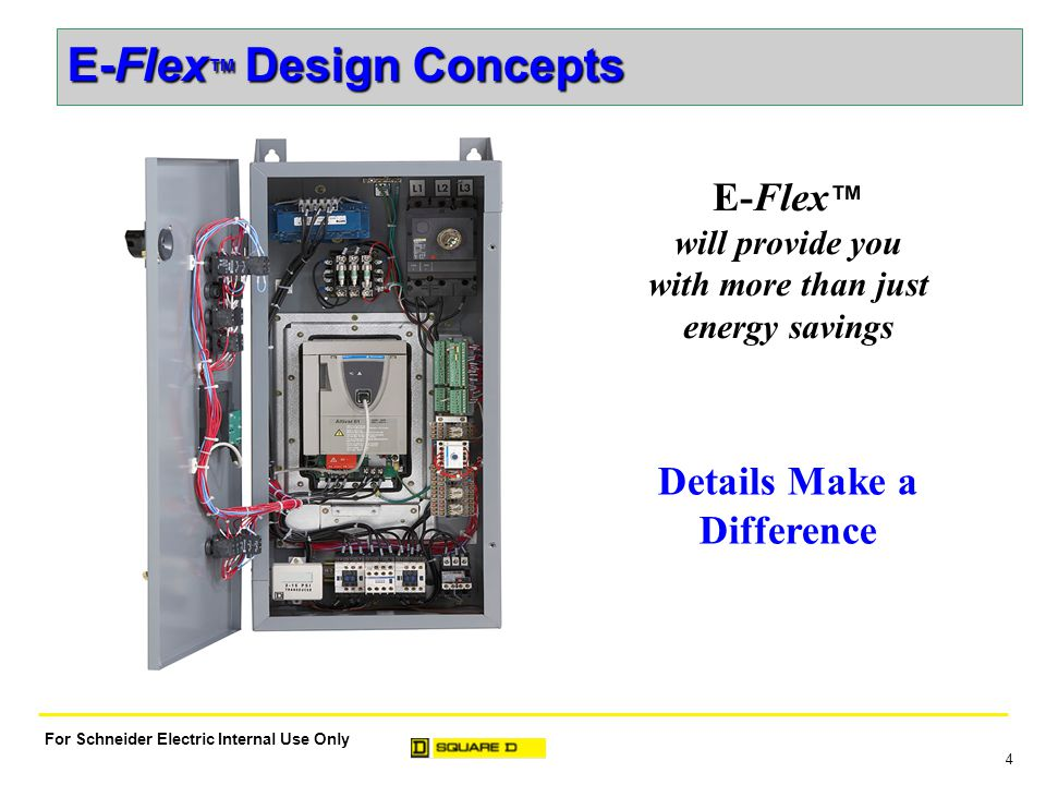 4 For Schneider Electric Internal Use Only Details Make a Difference E-Flex ™ will provide you with more than just energy savings E-Flex ™ Design Concepts