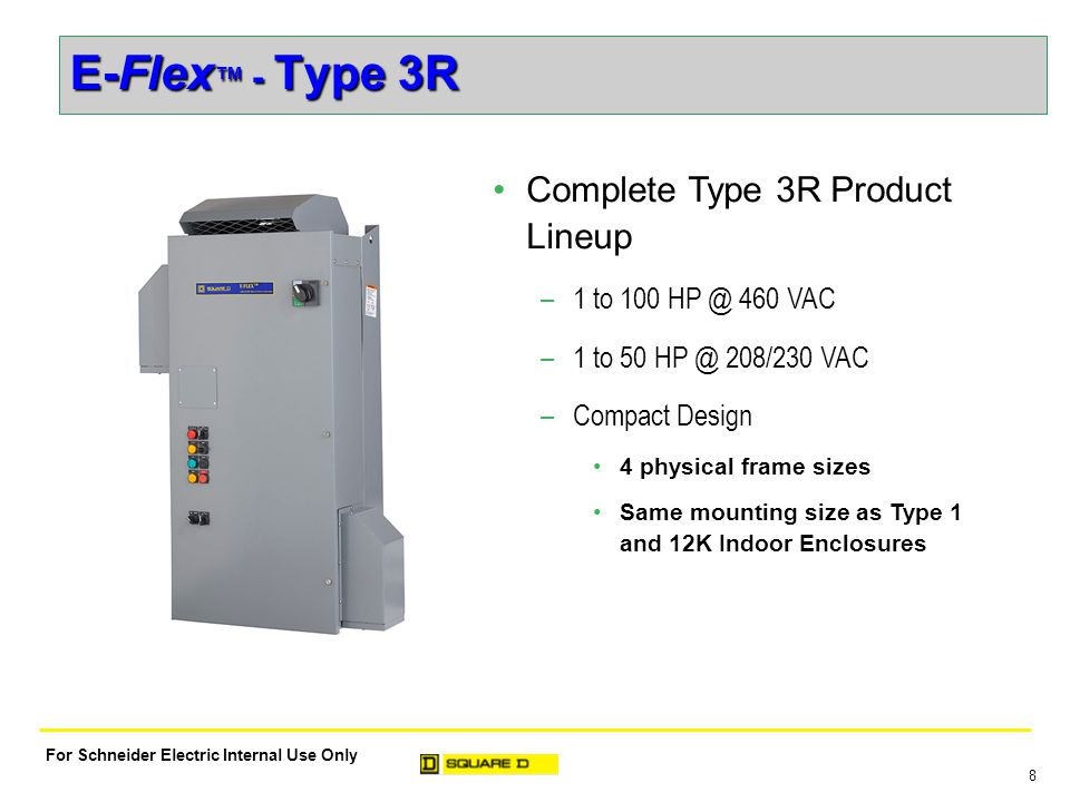 9 For Schneider Electric Internal Use Only E-Flex ™ - Type 3R Lower Installed Cost –Shorter conduit runs to motor Reduces motor lead lengths by mounting drive closer to motor Reduces need for motor protection filter –Ideal for retrofit installations Relieves overcrowding in mechanical rooms Reduces heat load in mechanical rooms by mounting outdoors