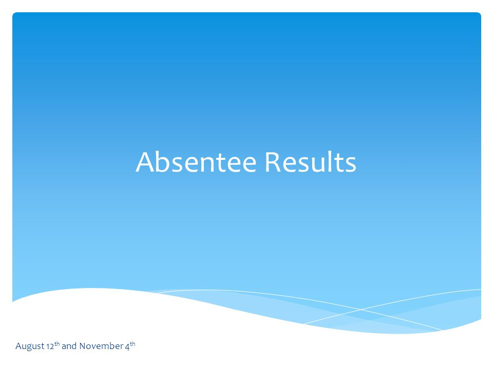 Absentee Results August 12 th and November 4 th