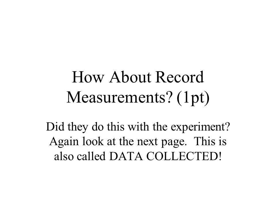 How About Record Measurements. (1pt) Did they do this with the experiment.