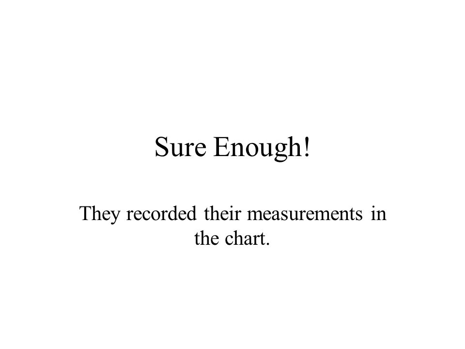 Sure Enough! They recorded their measurements in the chart.