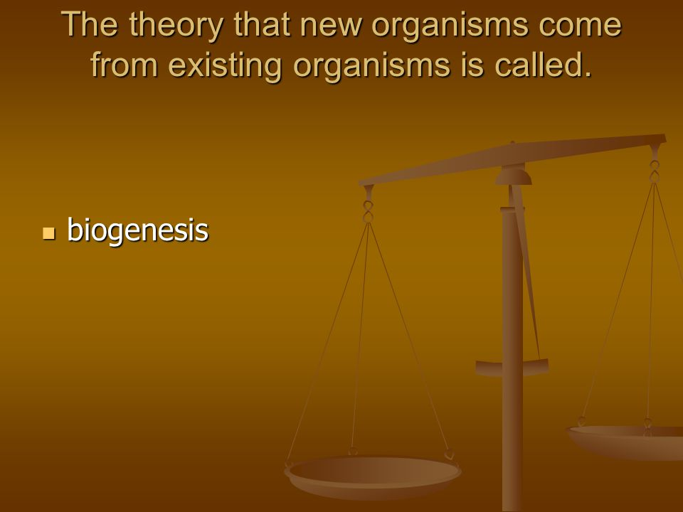 The theory that new organisms come from existing organisms is called. biogenesis biogenesis