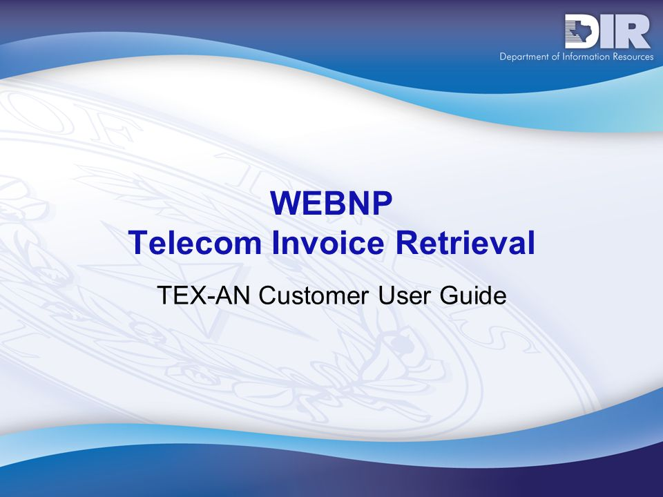 WEBNP Telecom Invoice Retrieval TEX-AN Customer User Guide