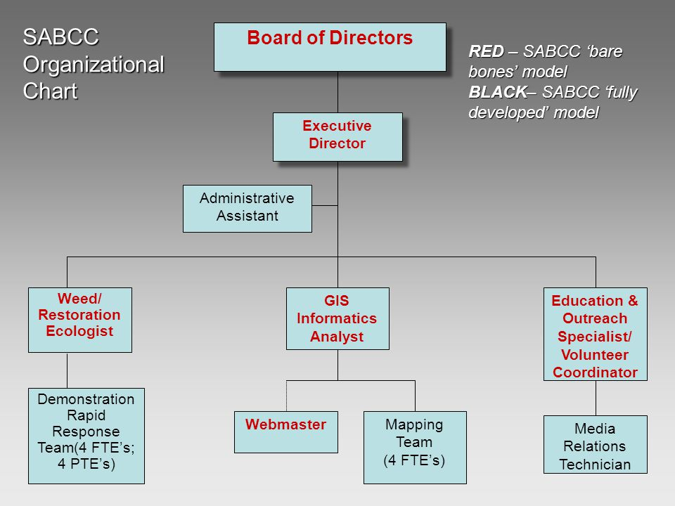 GIS Informatics Analyst Mapping Team (4 FTE's) Webmaster Education & Outreach Specialist/ Volunteer Coordinator Weed/ Restoration Ecologist Media Relations Technician Demonstration Rapid Response Team(4 FTE's; 4 PTE's) Executive Director Administrative Assistant Board of Directors SABCCOrganizationalChart RED – SABCC 'bare bones' model BLACK– SABCC 'fully developed' model