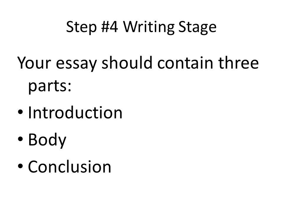 Step #4 Writing Stage Your essay should contain three parts: Introduction Body Conclusion