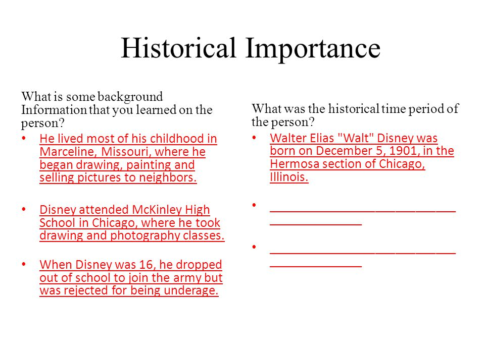 Historical Importance What is some background Information that you learned on the person.