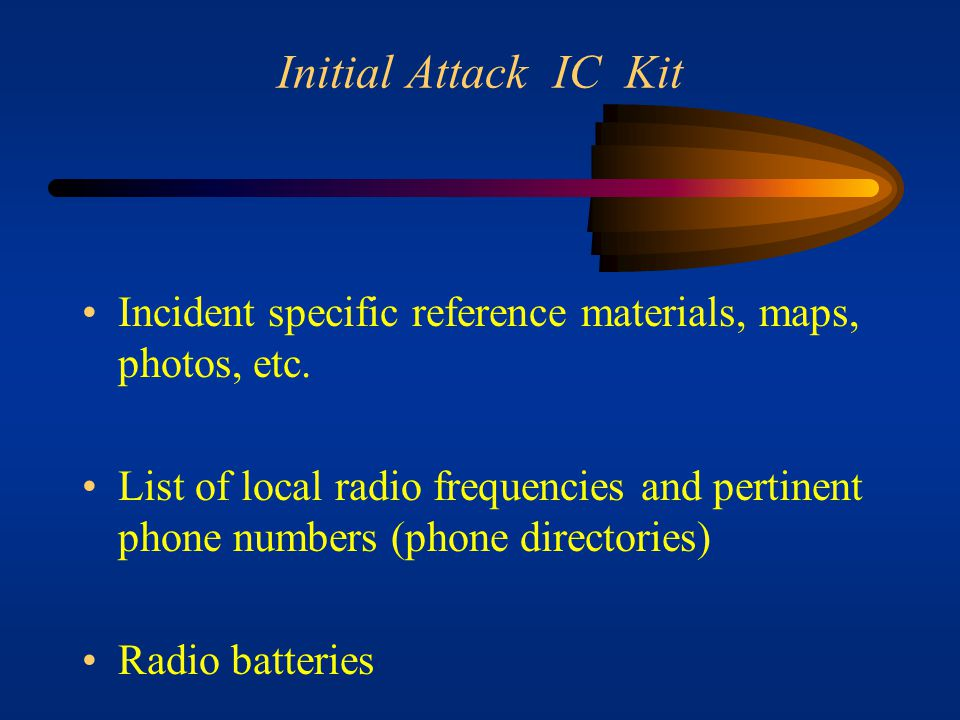 Initial Attack IC Kit Unit log, ICS form 214 Office supplies Checklist of information to be gathered about the fire prior to leaving for the fire.