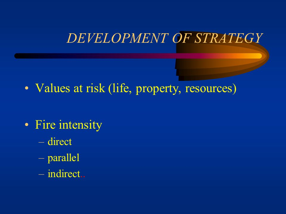 DEVELOPMENT OF STRATEGY Topography - accessibility, safety, effects Natural barriers Human made barriers