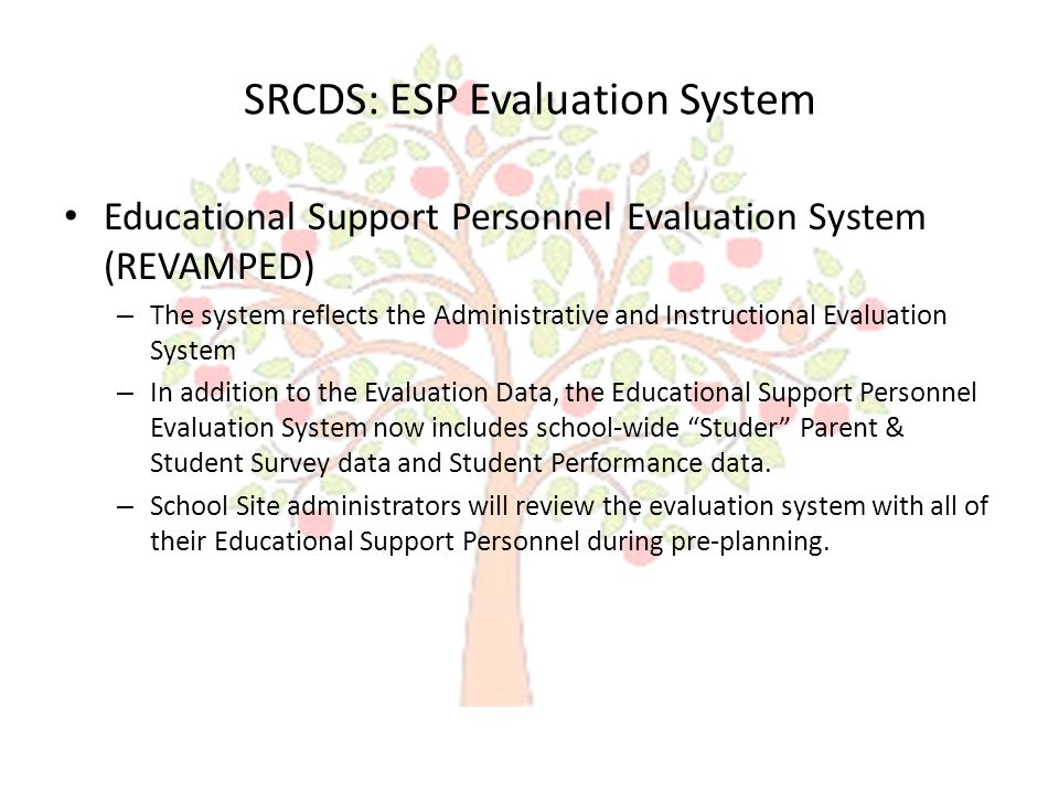 SRCDS: ESP Evaluation System – Section I: Added Self Assessment (See New Rubric) Revamped to look and function more like the Administrative and Instructional Evaluation System The Rubric has been updated ESP will complete before the end of the first nine weeks 21 Indicators : (5 major areas) – Dependability (5 Indicators) – Quality/Quantity of Work (4 Indicators) – Initiative (3 Indicators) – Interpersonal/ Attitude (5 Indicators) – Personal (4 Indicators)