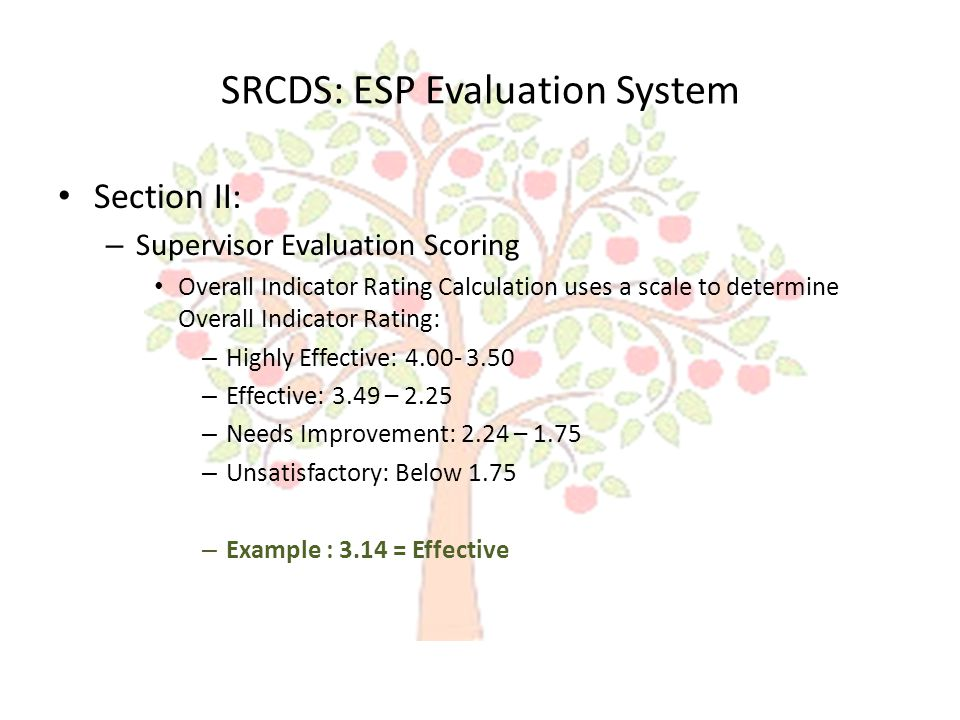 SRCDS: ESP Evaluation System Section II: – Supervisor Evaluation Scoring Overall Indicator Rating Calculation uses a scale to determine Overall Indicator Rating: – Highly Effective: 4.00- 3.50 – Effective: 3.49 – 2.25 – Needs Improvement: 2.24 – 1.75 – Unsatisfactory: Below 1.75 – Example : 3.14 = Effective