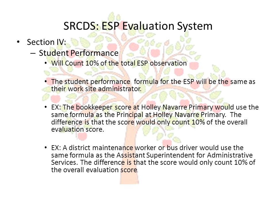 SRCDS: ESP Evaluation System Section V: – Overall Evaluation This section totals the previous four sections to identify an overall evaluation rating.