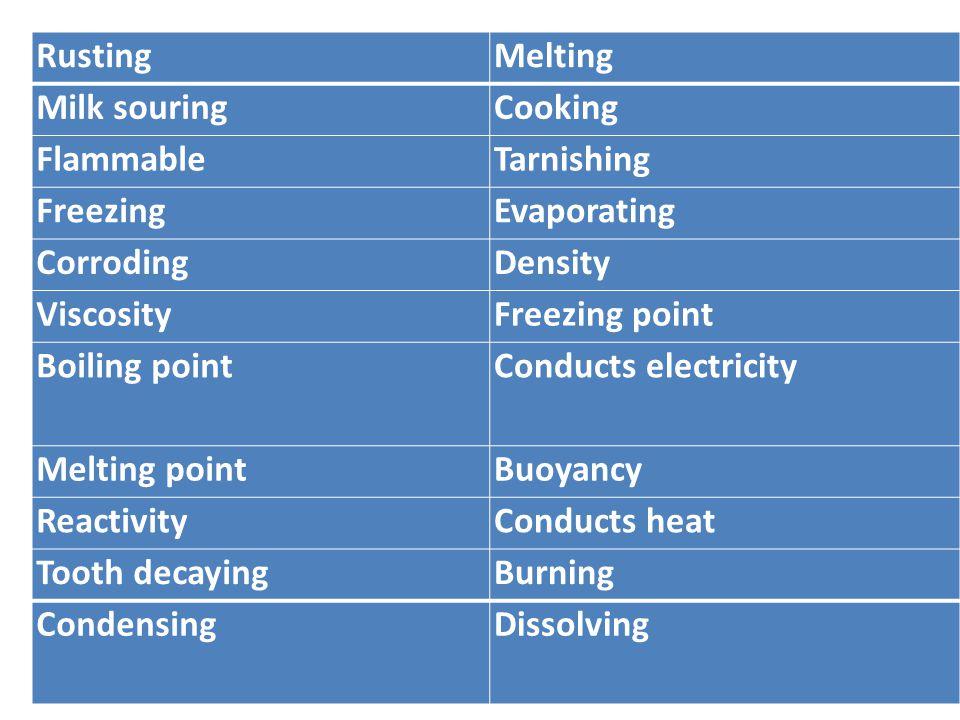 RustingMelting Milk souringCooking FlammableTarnishing FreezingEvaporating CorrodingDensity ViscosityFreezing point Boiling pointConducts electricity Melting pointBuoyancy ReactivityConducts heat Tooth decayingBurning CondensingDissolving