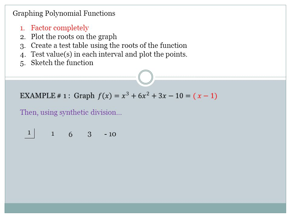 Graphing Polynomial Functions Then, using synthetic division… 1 1 6 3 - 10 1.Factor completely 2.Plot the roots on the graph 3.Create a test table using the roots of the function 4.Test value(s) in each interval and plot the points.