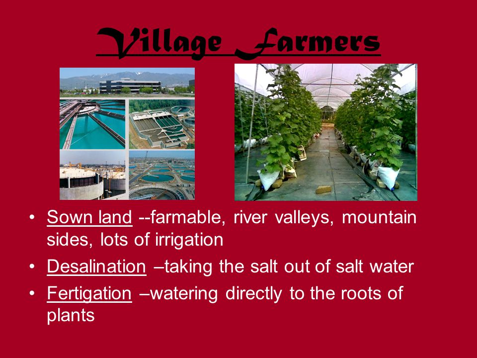 Village Farmers Sown land --farmable, river valleys, mountain sides, lots of irrigation Desalination –taking the salt out of salt water Fertigation –watering directly to the roots of plants