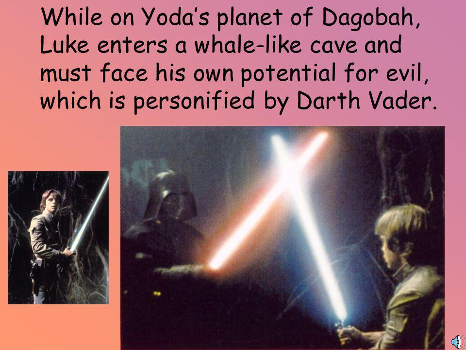 Luke Skywalker trains with Yoda in a whale-like house.