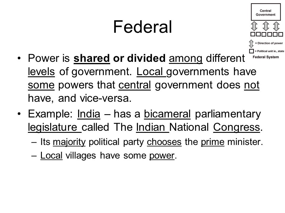 Federal Power is shared or divided among different levels of government. Local governments have some powers that central government does not have, and
