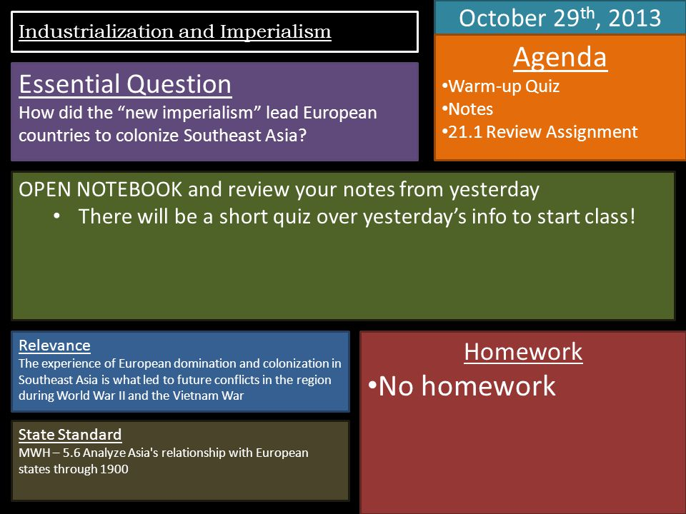 October 29 th, 2013 Agenda Warm-up Quiz Notes 21.1 Review Assignment OPEN NOTEBOOK and review your notes from yesterday There will be a short quiz over yesterday's info to start class.