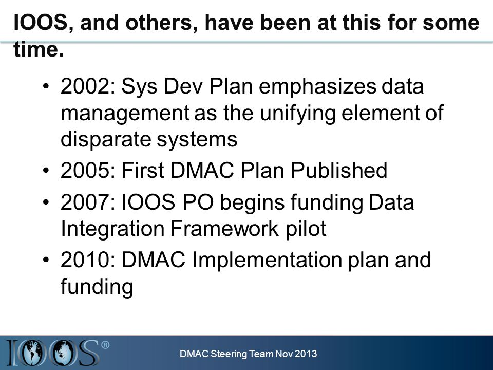 IOOS, and others, have been at this for some time. 2002: Sys Dev Plan emphasizes data management as the unifying element of disparate systems 2005: Fi
