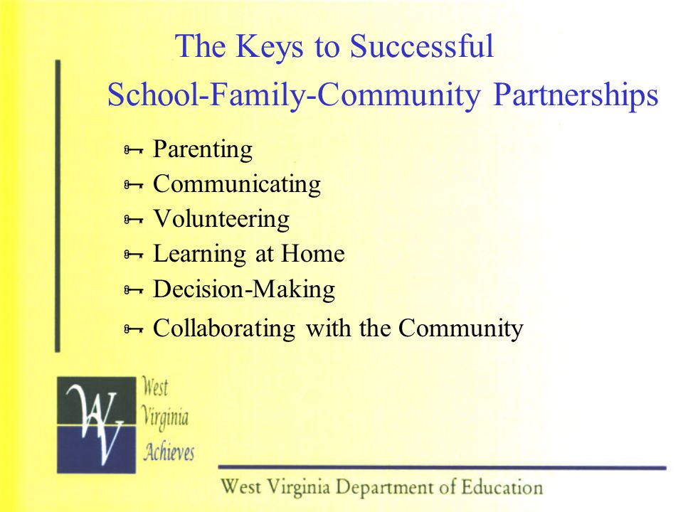 The Keys to Successful School-Family-Community Partnerships  Parenting  Communicating  Volunteering  Learning at Home  Decision-Making  Collabor